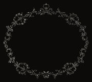 Victorian frame. White floral frame in Victorian style on black background Royalty Free Stock Photos
