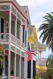 Victorian Galveston. A row of colorful victorian style houses in the Historic East End of Galveston, Texas Royalty Free Stock Photo