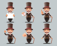Victorian Gentleman Business Cartoon Characters Icons Different Actions Cute Man Set English 3d Isolated Background Stock Photography
