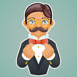 Victorian Gentleman Businessman Character Mascot Gold Glasses Correct Tie Bow Icon Stylish Lamp Background Retro Vintage Stock Photography