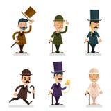 Victorian Gentleman Characters Icons Set  Flat Design Vector Illustration Stock Photo