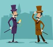 Victorian Gentleman Meeting Businessman Cartoon Stock Images
