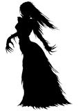 Victorian ghost or a vampire woman silhouette. Abstract woman with long hairs and curved fingers in a ball gown with ragged edges Royalty Free Stock Photo