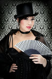 Victorian Girl. Beautiful Asian Girl Dressed In A Victorian Dress With Top Hat Royalty Free Stock Images