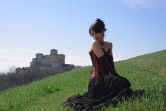 Victorian girl. Of the Torrechiara castle Royalty Free Stock Images