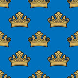 Victorian golden crowns seamless pattern Stock Photo