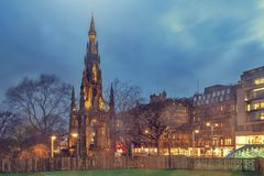 Scott Monument in Princes Street Gardens in old town Edinburgh, Scotland, UK. The Victorian Gothic building of Scott Monument to Scottish author, Sir Walter royalty free stock image