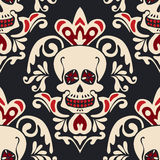 Victorian Gothic skull vector Damask Pattern. Royalty Free Stock Photo