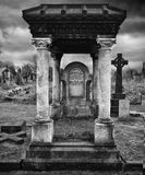 Victorian Grave - Gothic Style. Black and White photo of a Victorian Grave in Bradford Yorkshire. This shows the excess which the Victorian Rich gave to death Royalty Free Stock Photo