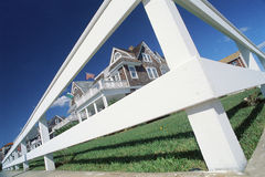 Victorian Homes with Fence. Fisheye view of Victorian Homes Cape May, New Jersey Stock Photos