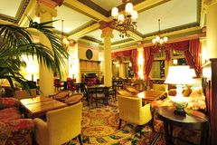 Victorian hotel lobby. Historic victorian style hotel lobby interior look Stock Images