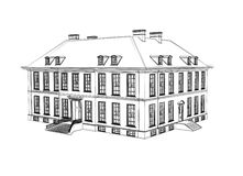Victorian house drawing. Black and white illustration Stock Photos