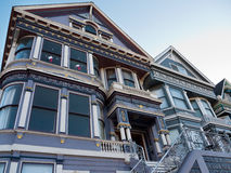 Victorian House San Francisco. Victorian house well kept and recently painted. Wrought iron rail, & nice stuccos. Typical stairs leading to main entrance Stock Photography