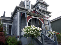 Victorian house with white rose bush in front. Victorian house grey blue color with stairs leading to porch and beautiful white rose bush in front. In Alameda stock photography