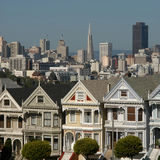 Victorian houses. Famous seven victorian houses called Seven Ladies in San Francisco, California Stock Image