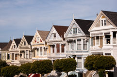 Victorian Houses. On Steiner Street, Alamo Square, San Francisco Royalty Free Stock Photo