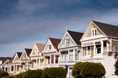 Victorian Houses. On Steiner Street, Alamo Square, San Francisco. Also known as The Seven Sisters and Postcard Row Royalty Free Stock Image