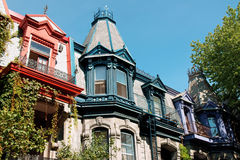 Victorian houses. Colorful victorian houses in Montreal Stock Photo