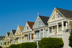 Victorian houses in Alamo Square Stock Images