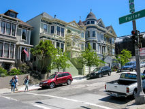 Street, people, houses Alamo Square, San Francisco royalty free stock image