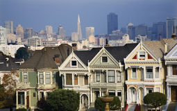 Victorian Houses Modern Skyscrapers San Francisco Royalty Free Stock Image