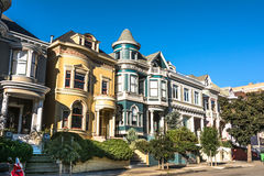 Victorian houses in San Francisco Stock Photos