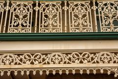 Victorian ironwork on a house in Richmond Tasmania stock images