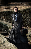 Victorian lady in black. Royalty Free Stock Photos