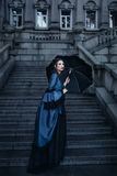 Victorian lady in blue Royalty Free Stock Photos