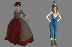 Victorian lady and pixie Royalty Free Stock Photos