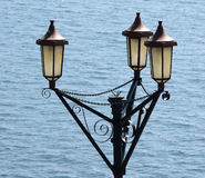 Victorian Lamps. These lamps are situated on the promenade of the Hoe, Plymouth UK, where Drake played bowls whilst waiting for the Spanish Armada to appear on Stock Photo