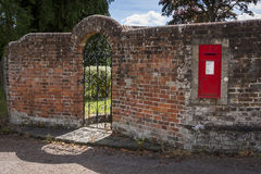 Victorian Letterbox in Garden Wall. Found in Westcott in Surrey, England.  A piece of history over 100 years old Stock Image