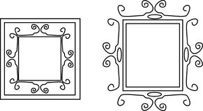 Victorian line frames. Curves, and swirls form a delicate line frame, Victorian style Stock Photo