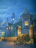 Victorian London. Theatre backdrop featuring a street scene in Victorian-era London royalty free illustration