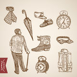 Victorian male clothes foowear boot engraving vintage vector Royalty Free Stock Images