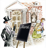 Victorian man standing on a city street. And looking through old fashioned monocle at restaurant menu Royalty Free Stock Images