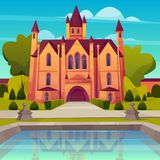 Victorian mansion with fountain cartoon vector stock illustration