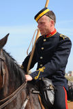 Mounted soldier on horseback stock photo