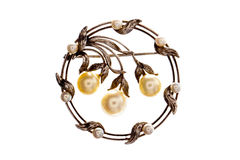 Victorian pearl broach. royalty free stock photo