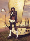 Victorian pilot and flying machine. Victorian pilot girl standing next to a fantasy flying machine royalty free illustration
