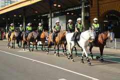 Victorian Police Mounted Branch Constables providing security during Australia Day Parade in Melbourne. MELBOURNE, AUSTRALIA - JANUARY 25, 2016: Victorian Police Stock Images