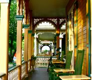 Victorian Porch. Row of five Victorian front porches Stock Images