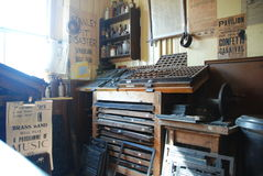 Victorian print shop. At award-winning Beamish open air museum in north east England Stock Image