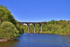 Victorian Railway Viaduct Crossing Lake Royalty Free Stock Images