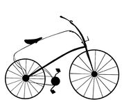 Victorian retro bicycle silhouette isolated on white background. Stock Image