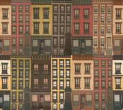 Victorian Row houses. Crowded Victorian row houses in various colors. An all over pattern stock illustration