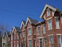 Victorian row houses with gables Royalty Free Stock Photo