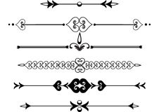 Victorian rule lines or scrolls. Scrolls or victorian rule lines or florishes Royalty Free Stock Photos