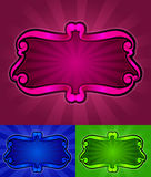Victorian scroll in color background. Victorian scroll in pink, blue and green background Stock Images