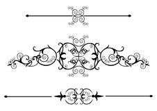 Victorian Scrolls. Ornate Victorian scrolls in black with  a bonus ruleline Royalty Free Stock Photo